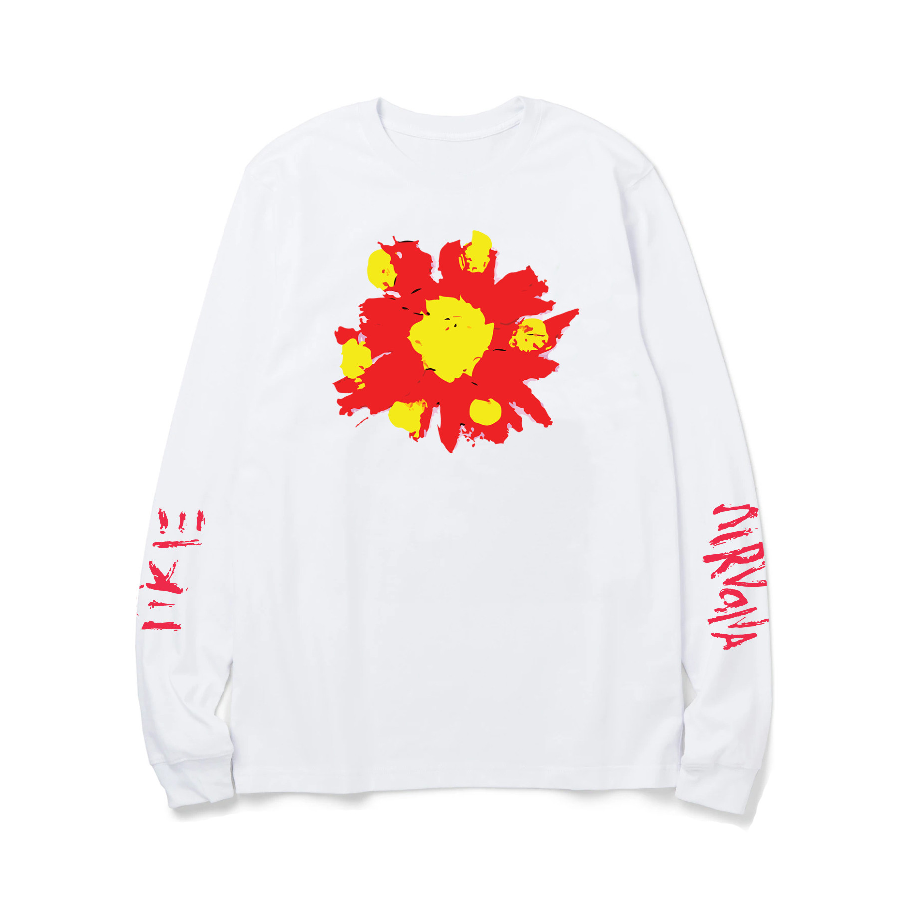 White OS Flower LS Tee